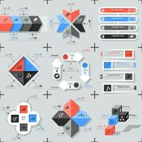 Set med 9 platt minimala infographics vektor