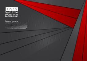 Rote und schwarze Farbe des geometrischen abstrakten Hintergrundes mit Kopienraum, Vektorillustration für Ihr Geschäft eps10