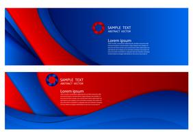 geometrischer abstrakter Hintergrund der blauen und roten Farbe mit Kopienraum, Vektorillustration für Fahne Ihres Geschäfts vektor