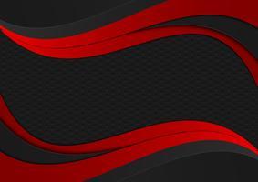 Svart och röd färgvåg geometrisk struktur. Abstrakt vektor bakgrund