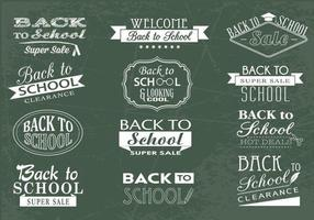 Back to School Chalkboard och Sale Vector Pack