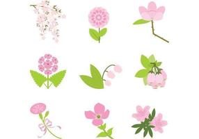Realistic Pink Flower Vector Pack