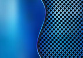 Abstrakt blå metallisk metallbakgrund gjord av sexkantsmönsterstruktur med kurvplåt. Geometrisk struktur