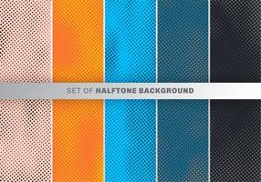 Set med prickar mönster design på orange, blå, svart bakgrund. Polka dot design tapeter samling.