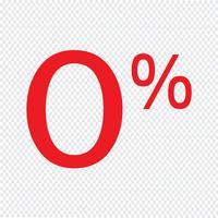 Noll procent tecken ikon vektor illustration