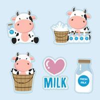 Liten ko och mjölktecknad.Cute klistermärke design. vektor