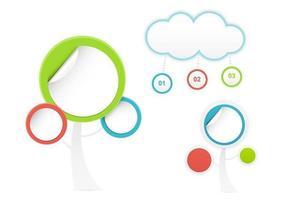 Abstrakt Tree och Cloud Sticker Vector Pack