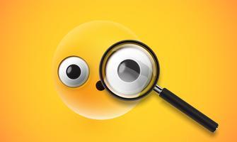 Gelber hoher ausführlicher Emoticon mit einem realistischen Vergrößerungsglas, Vektorillustration