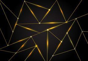 Polygonale Muster- und Golddreieckluxuslinien mit Beleuchtung auf dunklem Hintergrund. Geometrische Formen mit niedrigem Polygonverlauf.