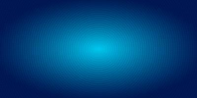 Abstraktes Radialpunktmusterhalbtonbild auf blauem Steigungshintergrund. Futuristische Neonbeleuchtung des digitalen Konzeptes der Technologie.