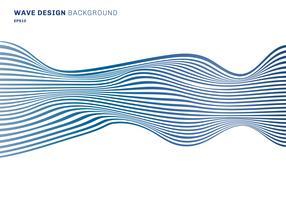 Abstrakte horizontale Linien horizontale Linien des blauen Wellendesignmusters auf weißem Hintergrund. optische Kunst Textur vektor