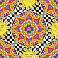 Sömlös ljus bakgrund. Färgrik etnisk rund prydnads mandala, sol med mänskligt ansikte symbol på rutigt mönster. Trendig stil. Vektor illustration