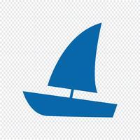 Segelbootikonen-Vektorillustration