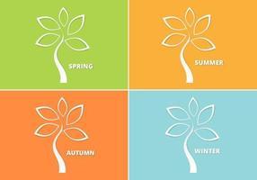 Cutout säsongens träd vektor pack