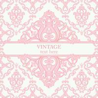 Schablonenkarte mit abstraktem barockem königlichem Hintergrund in den rosa und weißen Farben.