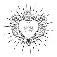 Vackert dekorativt hjärta med krona och rosor i svart färg isolerad på vit bakgrund. Vektor illustration