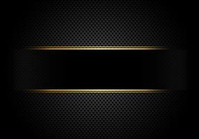 Kolfiber bakgrund och textur och belysning med svart etikett och guldlinje. Lyxig stil. Material tapeter för bilstart eller service.