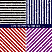 Satz abstraktes Schwarzes, Blau, Rot, Purpur, Weiß streifte auf modischem Hintergrund mit gelegentlichem Goldfolien-Punktmuster. Sie können für Grußkarten oder Geschenkpapier, Textilien, Verpackungen usw. verwenden. vektor