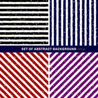 Set med abstrakt svart, blå, röd, lila, vit randig på trendig bakgrund med slumpmässigt guldfolie prickmönster. Du kan använda till gratulationskort eller papper, textil, förpackning etc. vektor
