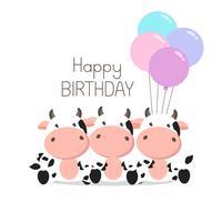 Födelsedag hälsningskort Söt kor med ballonger vektor