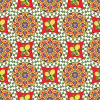 Sömlös mönster bakgrund. Färgglada etnisk rund prydnadsmandala med citroner. Vektor illustration