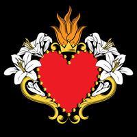 Jesu heliga hjärta. Vackert rött prydnadshjärta med liljor, krona i isolerad på svart bakgrund. Vektor illustration
