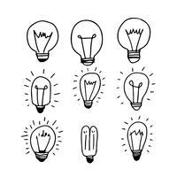 Handgezeichnete Glühbirne Symbol vektor
