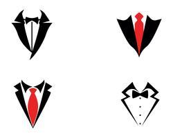 Tuxedo manlogo och symboler svart ikoner mall vektor