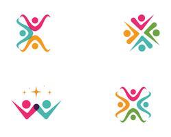 Community, nätverk och social ikon design mall vektor