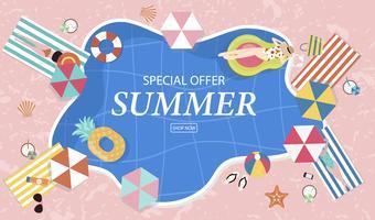 Sommerschlussverkaufhintergrund mit kleinen Leuten, Regenschirmen, Ball, Schwimmring, Sonnenbrille, Starfish, Hut, Sandalen im Draufsichtpool Vektorsommerfahne