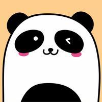 Gullig Panda Vektor Illustration Bakgrund.