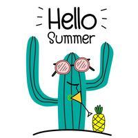 Hej sommarkoncept med kul kaktus och ananas. vektor