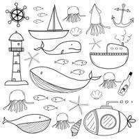 Handgezeichnete Sea Doodles Set. Vektor-Illustration.
