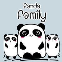 Gullig Cartoon Panda Familj Bakgrund. Vektor illustration.