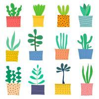 Handdragen Doodle Cactus Vector Set. Handgjord vektorillustration.