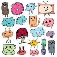 Kawaii Doodle För Barn. Handdragen Vektorillustration.