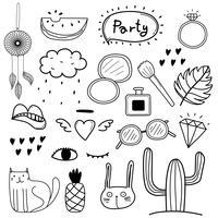 Hand gezeichneter Gekritzel-Vektor-Party-Satz. Vektor-Design-Elemente-Auflistung.