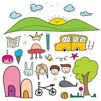 Hand Drawn Doodle Lovely Vector Set För Kid.