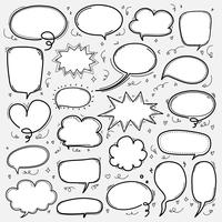 Handgezeichnete Blasen Set. Gekritzel-Art-Comic-Ballon, wolkenförmige Gestaltungselemente. vektor