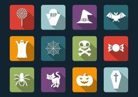 Schattenhafter Halloween-Vektor-Ikonen-Satz