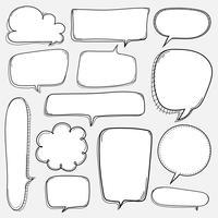 Handdragen bubblor. Doodle Style Comic Balloon, Cloud Shaped Design Elements.