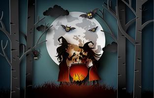 Papierkunst von glücklichem Halloween vektor