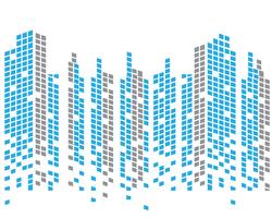 Moderne Skyline der Stadt. Stadtsilhouette. Vektor-Illustration im flat Design