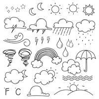 Väder Doodle Vector Set. Handdragen Vektorillustration.
