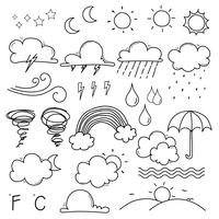 Wetter-Gekritzel-Vektor-Satz. Handgezeichnete Vektor-Illustration.