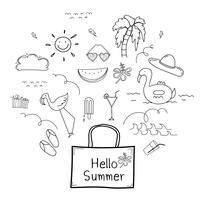 Handdragen Doodle Summer Vector Set. Doodle Rolig Set. Handgjord vektorillustration.