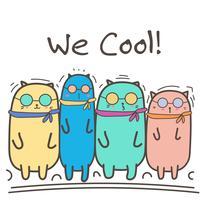 Coola katter med solglasögon. Vektor illustration.