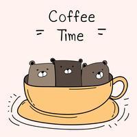 Söt björn i koppen. Jag älskar kaffe. Kaffe Time Vector Illustration.