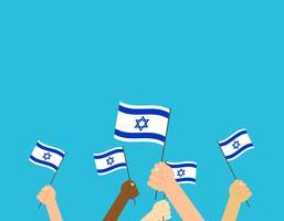 Vector die Illustrationshände, die israelische Flaggen auf blauem Hintergrund halten