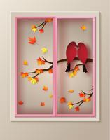 kärlek Fågeln ligger på en gren av lönnträd vektor